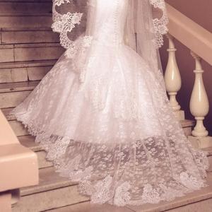 Фата свадебная с кружевом