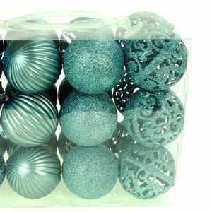 M18-220121,  Набор ёлочных шаров 24 шт.,  универсальный,  бирюзовый